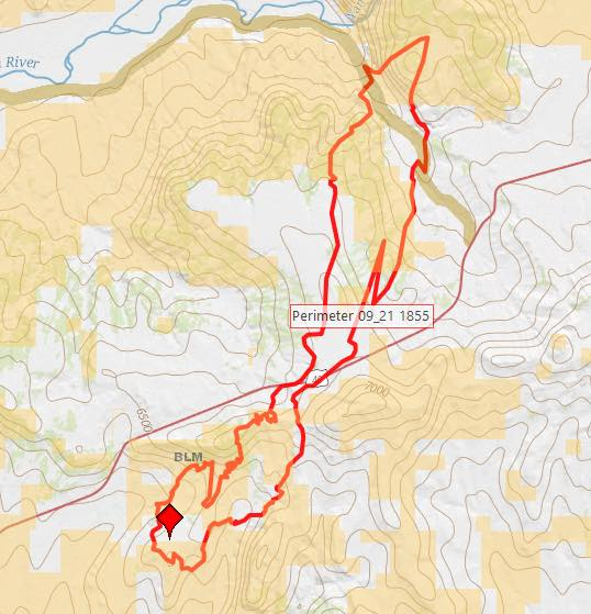 Winter Valley Fire map