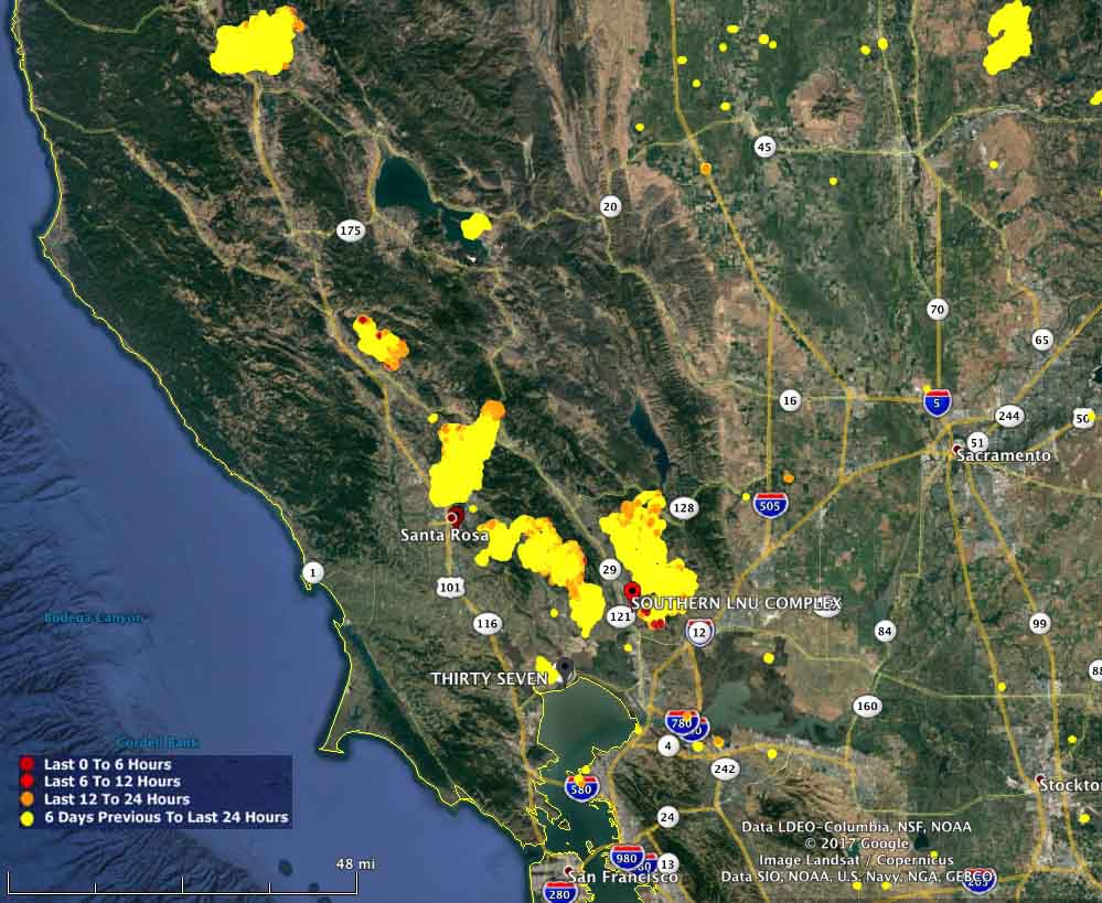 map California wildfires