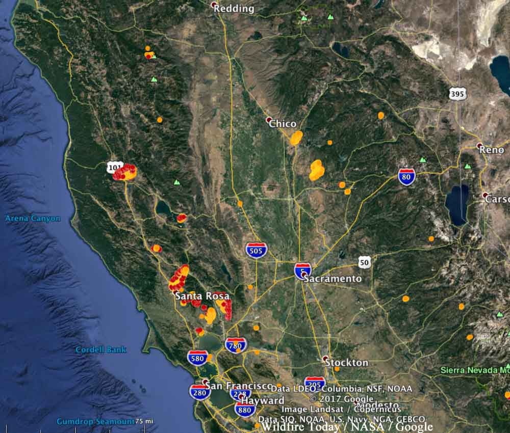 map california fires