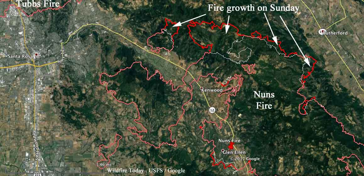 Map showing growth on northern end of Nuns Fire   Wildfire Today