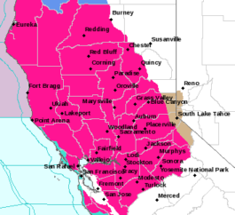Red flag warnings were in effect across Northern California on Monday.