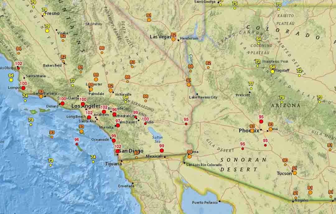 Triple-digit temperatures in Southern California
