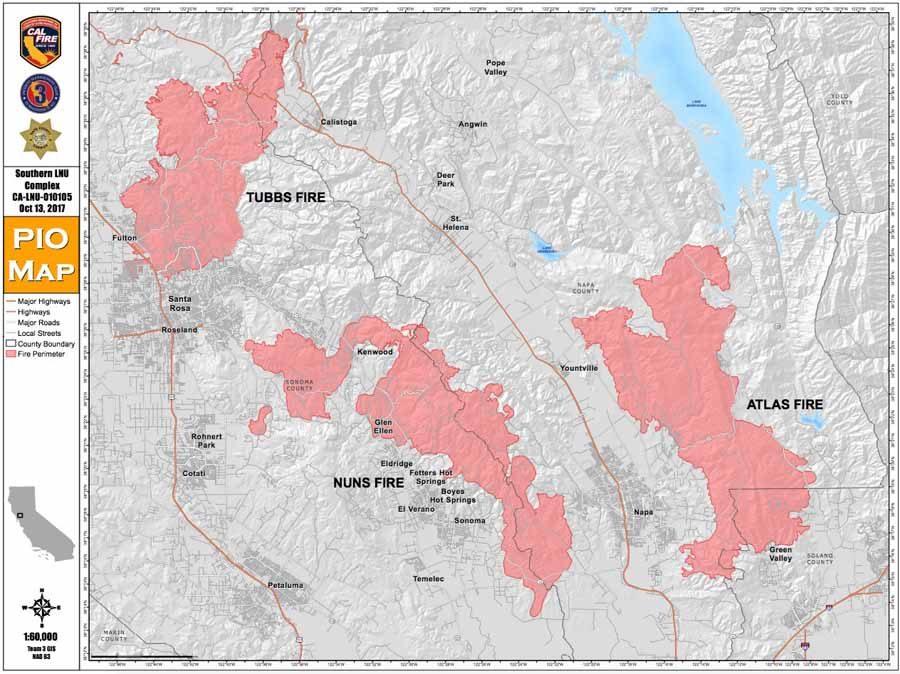 Map Tubbs, Nuns, Atlas Fires