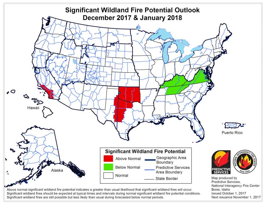 wildfire potential December January