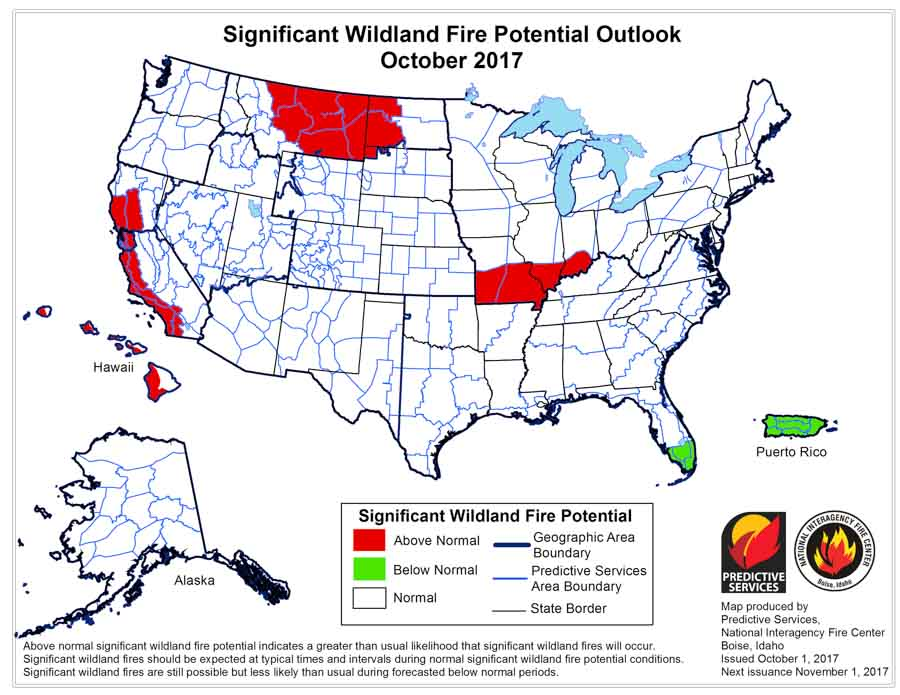 Wildfire potential, October through January