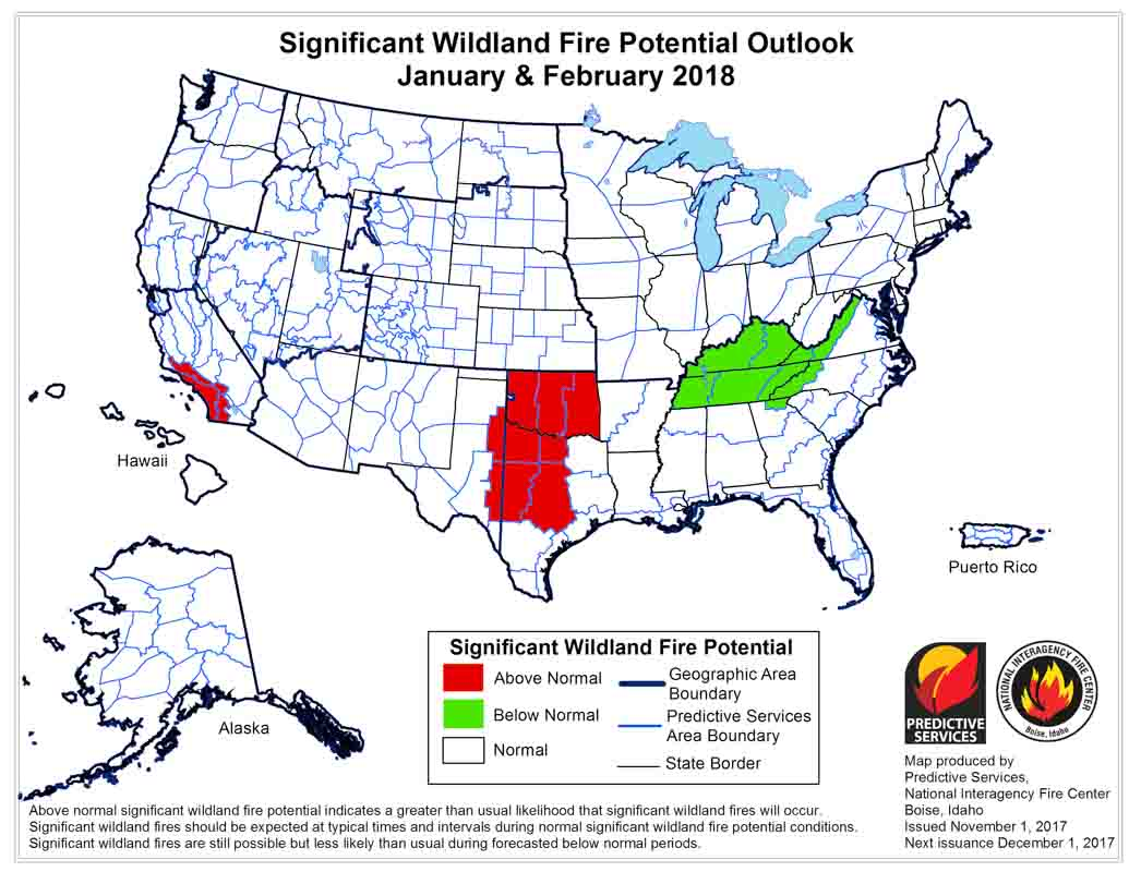 january february 2018 wildfire potential