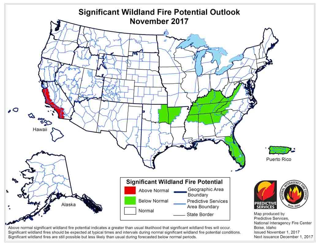 Wildfire potential, November through February