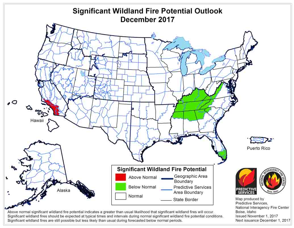 wildfire potential december, 2017