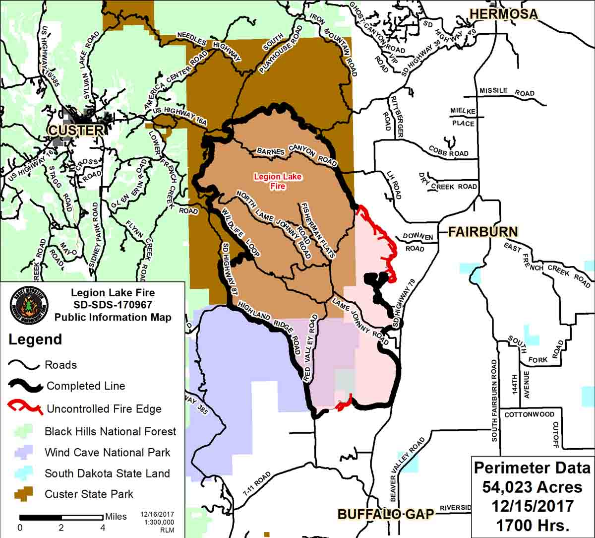 Map Legion Lake Fire