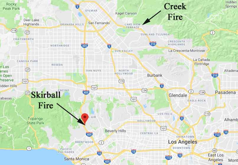 Map showing the location of the Skirball Fire that started early Wednesday morning in Los Angeles. Click to enlarge