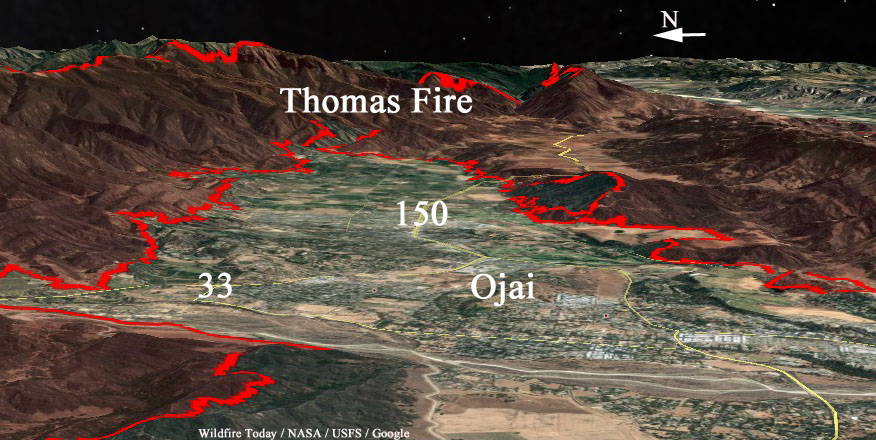 Map 3 D Thomas Fire 11pmpst 12 7 Wildfire Today