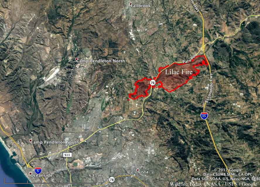 Lilac Fire Update Cal Fire >> Lilac Fire spreads from Interstate 15 to Bonsall, destroying 65 structures - Wildfire Today