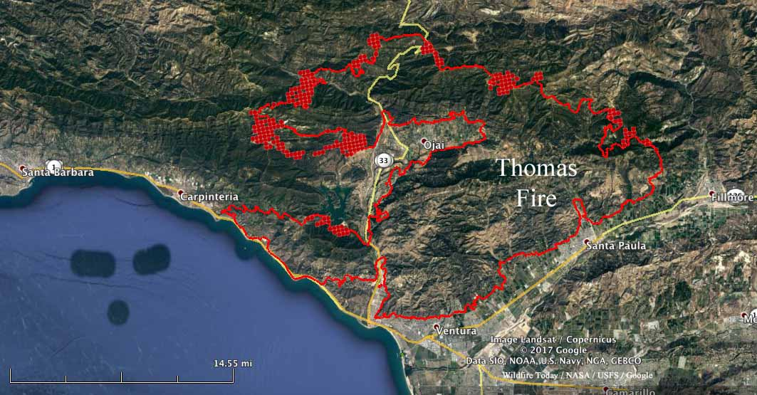 Thomas Fire Continues To March To The West Wildfire Today