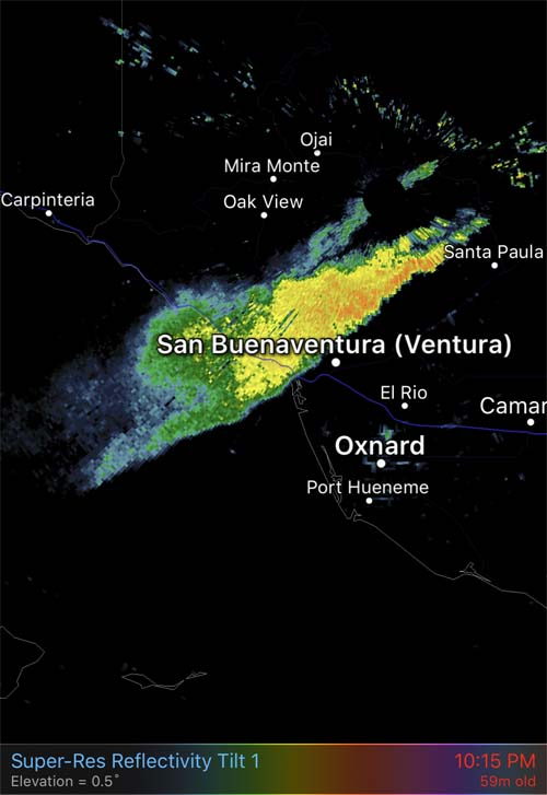 radar smoke thomas fire wildfire