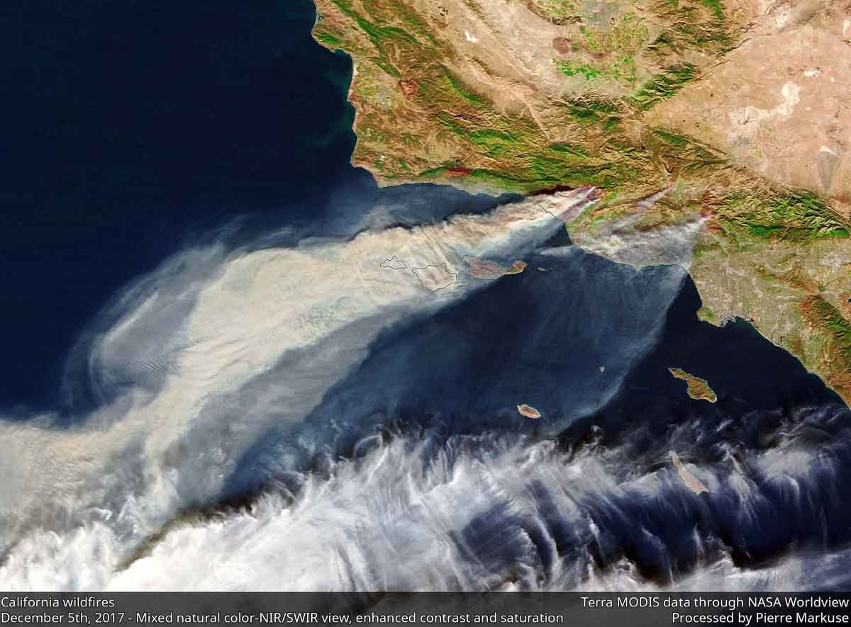 Southern California wildfires satellite view