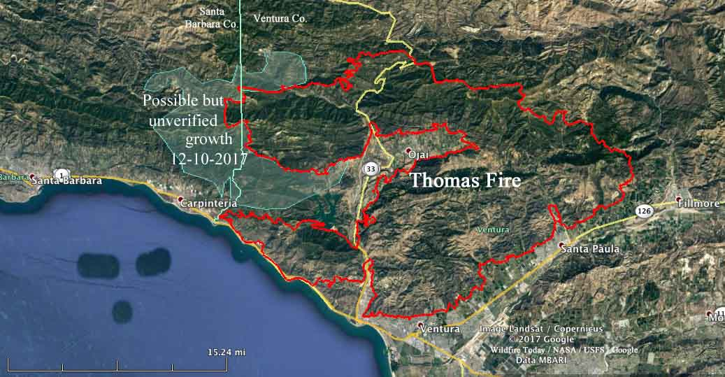 Santa Barbara Fire Map 2017 Thomas Fire spreads into Santa Barbara County   Wildfire Today