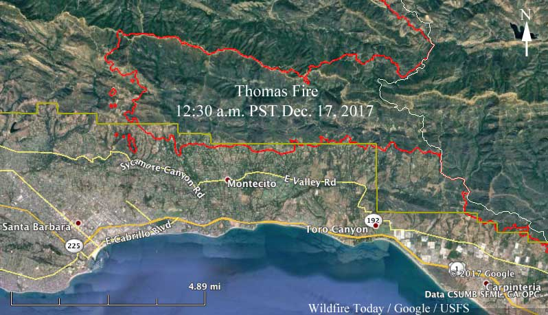 Map of the Thomas Fire