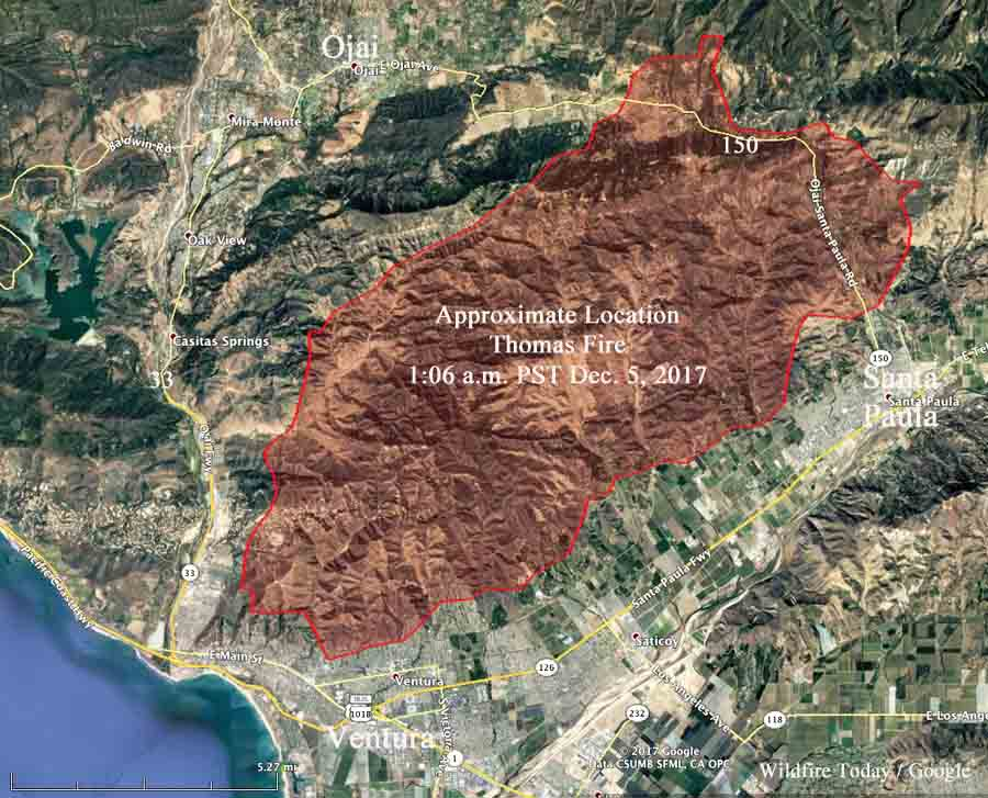 Ventura Fire Map >> Thomas Fire burns into Ventura, California - Wildfire Today