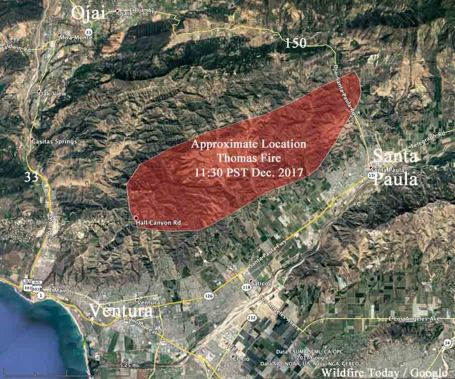 Ventura Fire Map >> Thomas Fire causes evacuations near Santa Paula, California - Wildfire Today