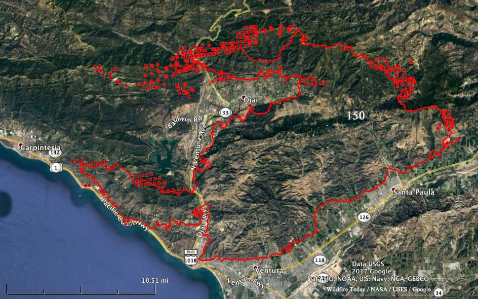 thomas fire map carpinteria Thomas Fire Almost Surrounds Ojai California Wildfire Today