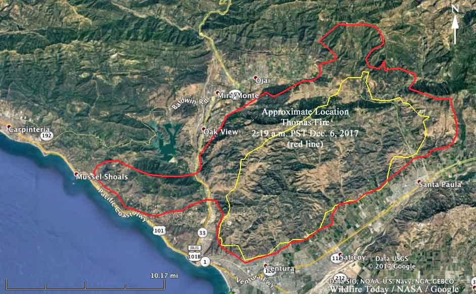 map Thomas Fire Ventura beach ocean 101