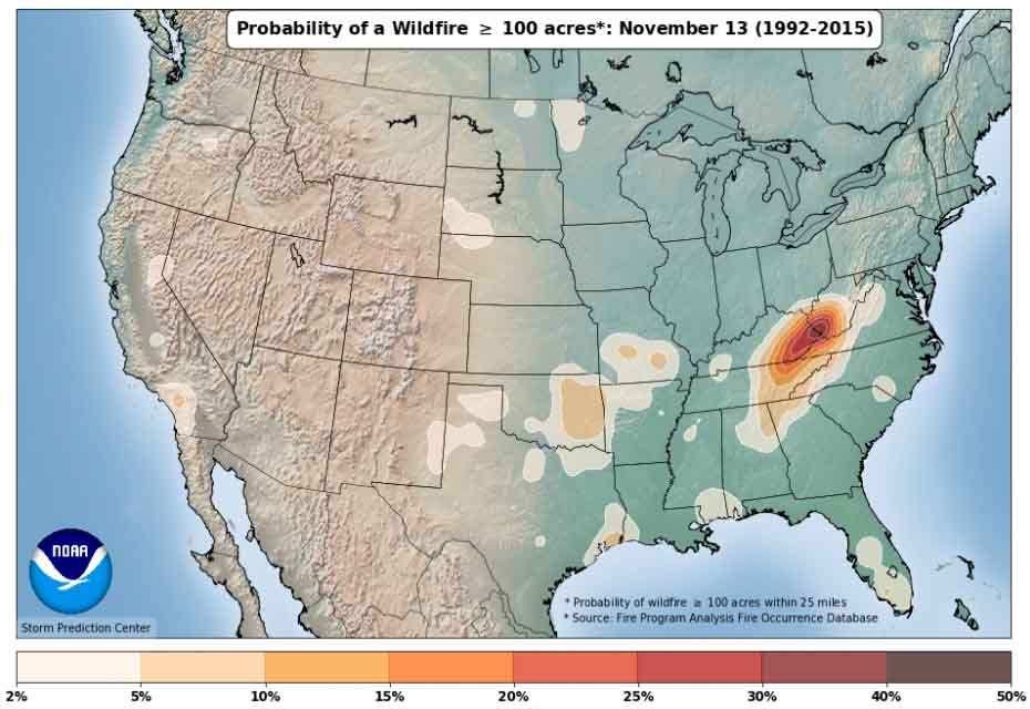 wildfire occurrence 1992-2015 map