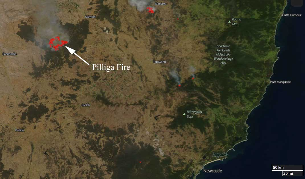 map Pilliga Fire New South Wales