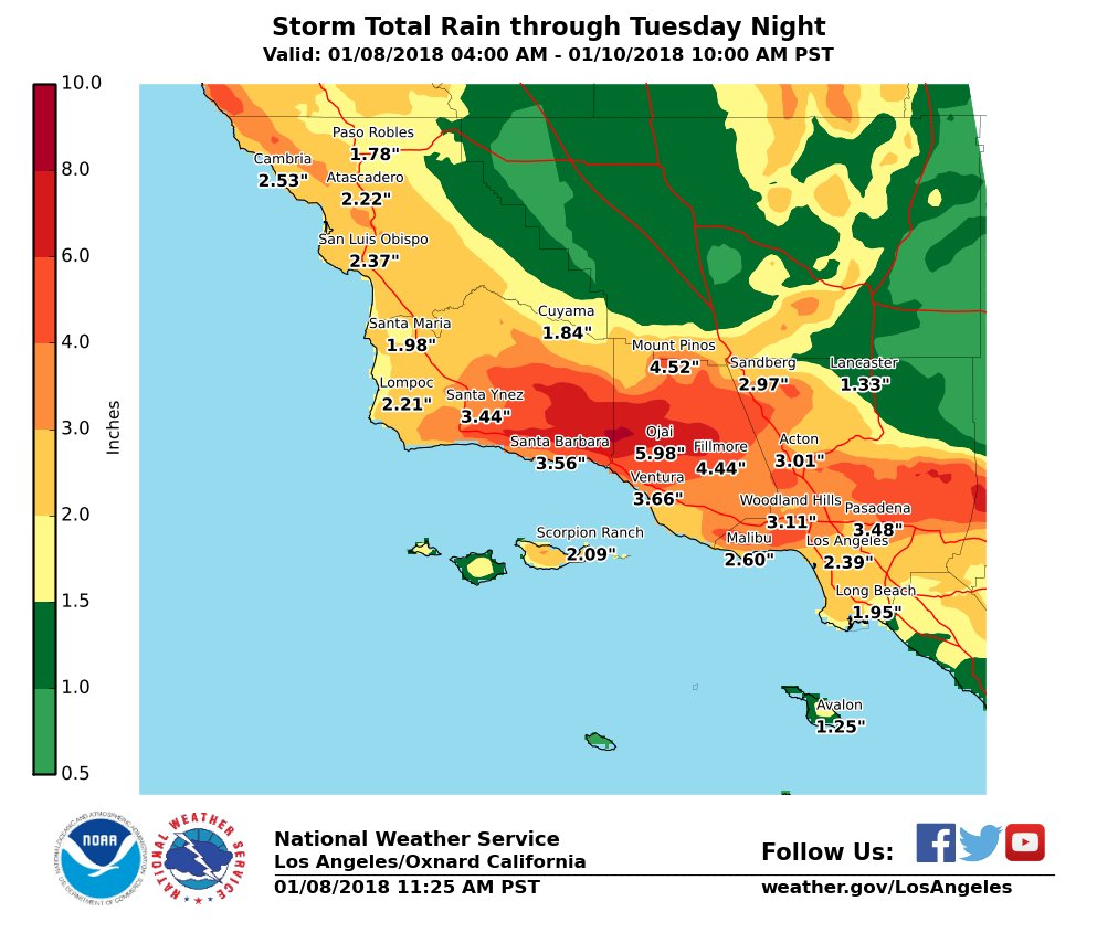 southern california storm total rain map