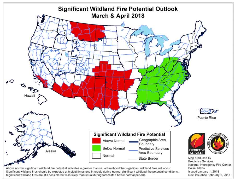 Wildfire potential March April