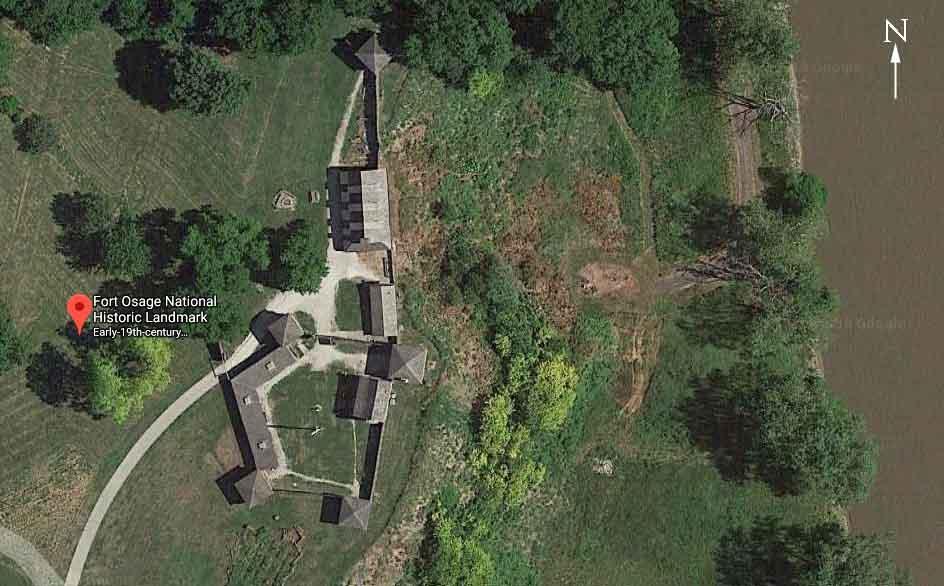 satellite photo Fort Osage National Historic Landmark