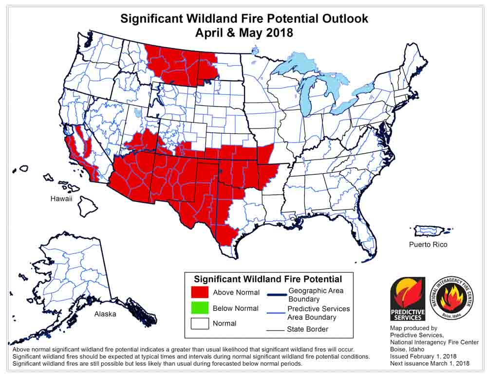 wildfire potential April May