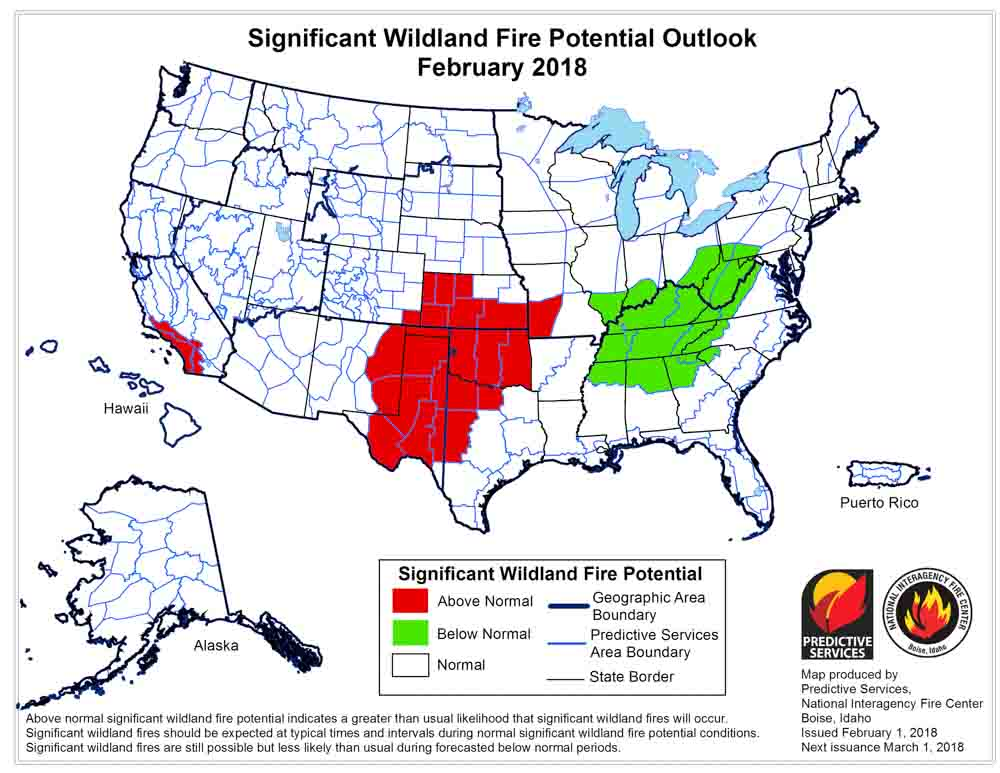 wildfire potential February