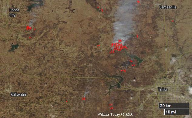 Wildfires northwest Tulsa, Oklahoma map