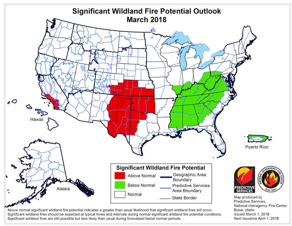 March wildfire outlook weather
