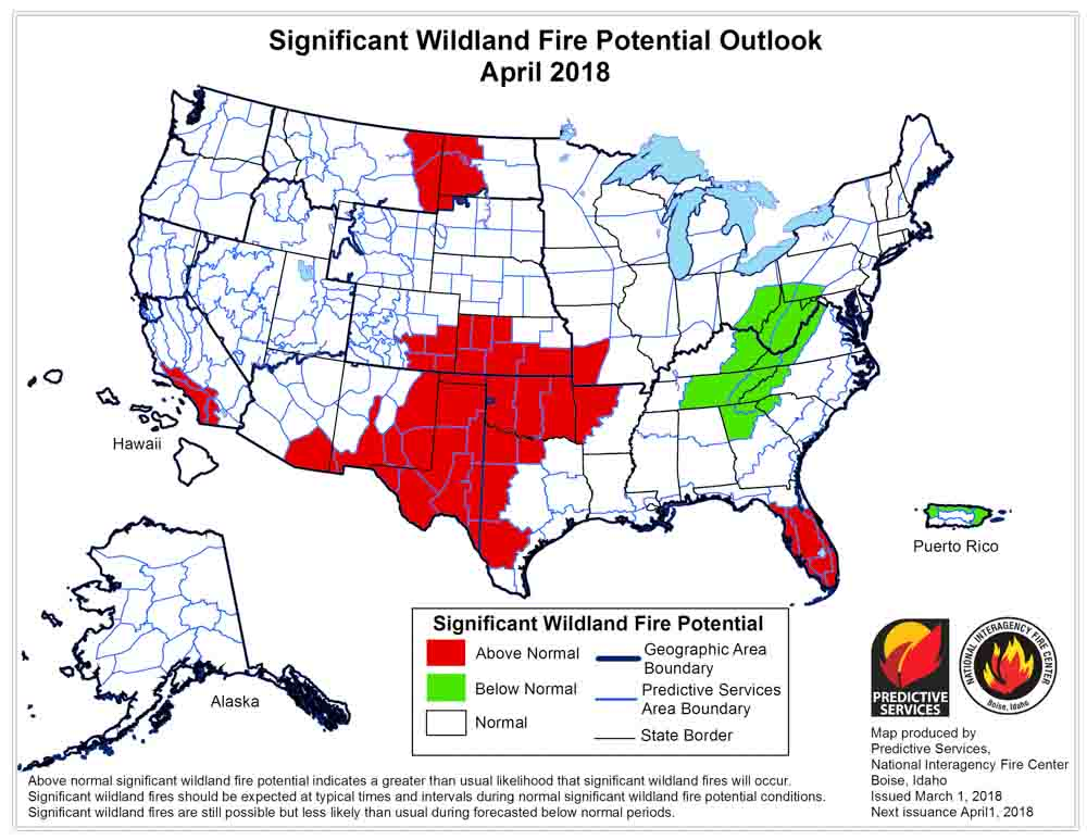 April wildfire outlook weather