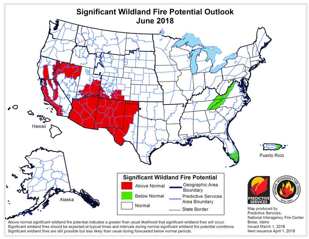 June wildfire outlook weather