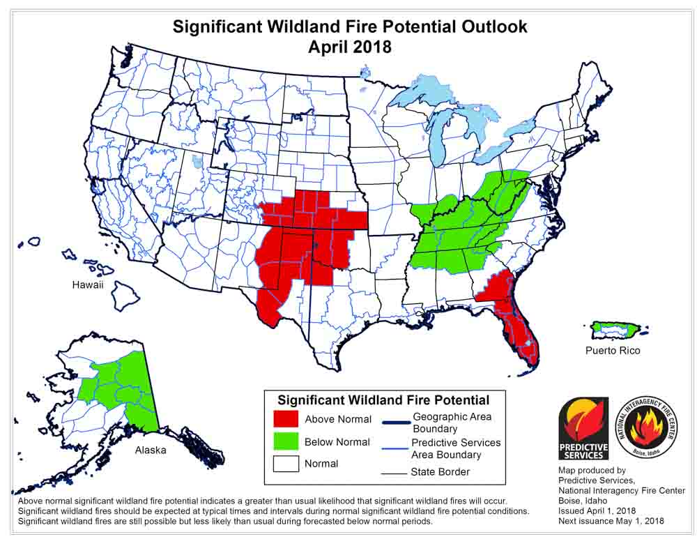 wildfire potential April, 2018