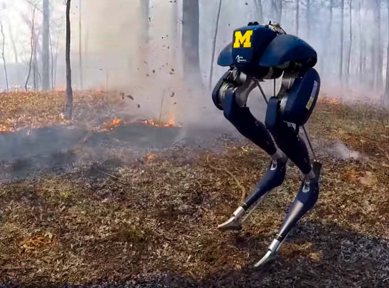 Robot walks through vegetation fire
