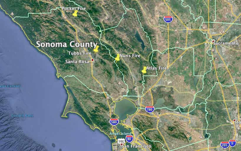 Sonoma County wildfires map