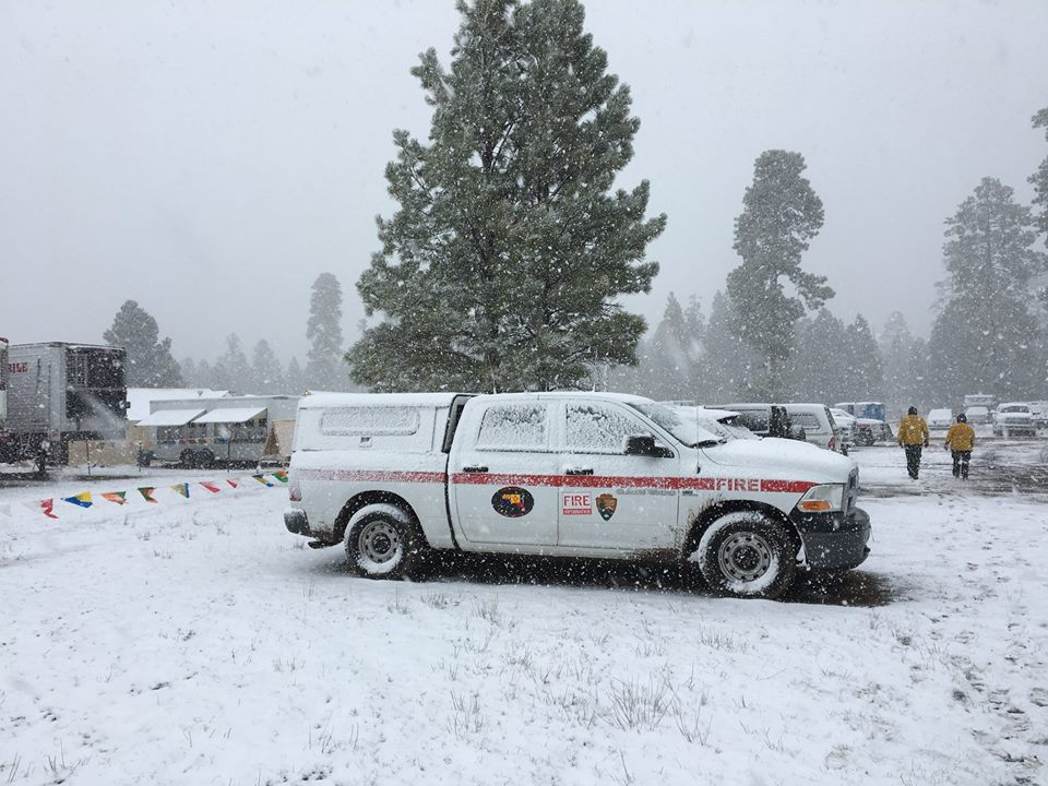 Snow at the Tinder Fire