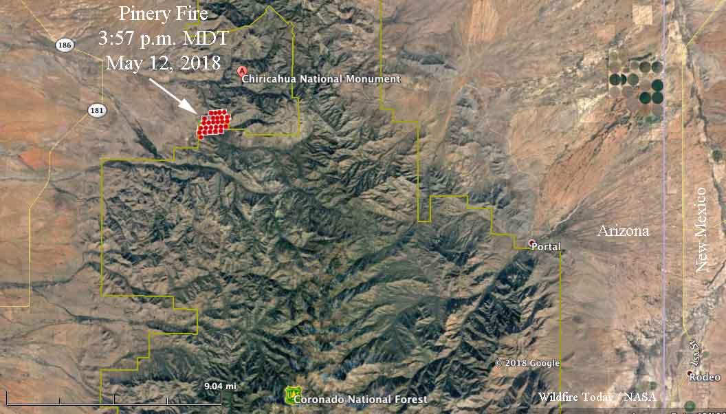 map Pinery Fire Southeast Arizona