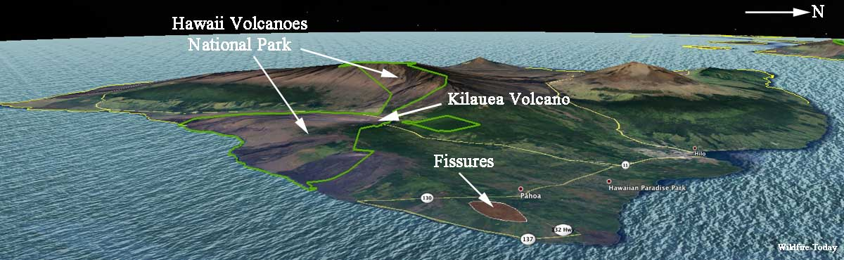 Kilauea volcano fissures map