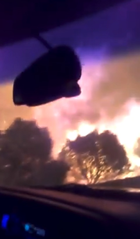 Video of driving through the Ute Park Fire