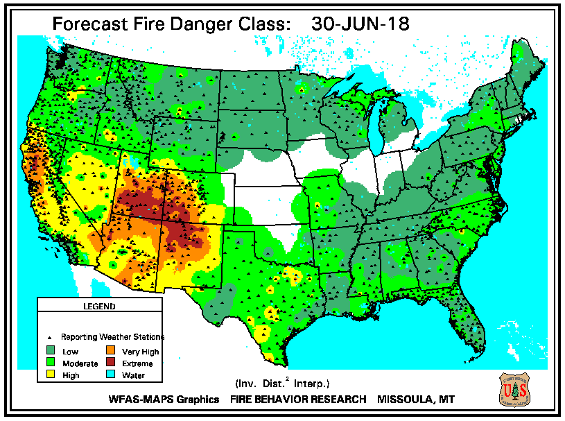 Predicted fire danger for Saturday