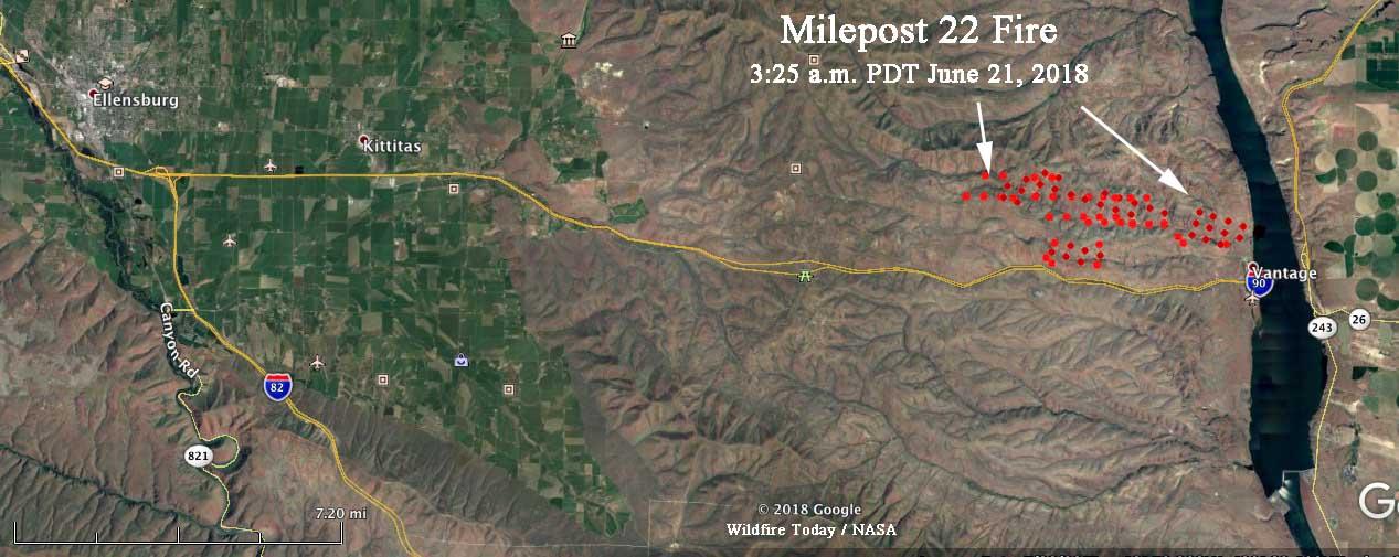 map Milepost 22 Fire