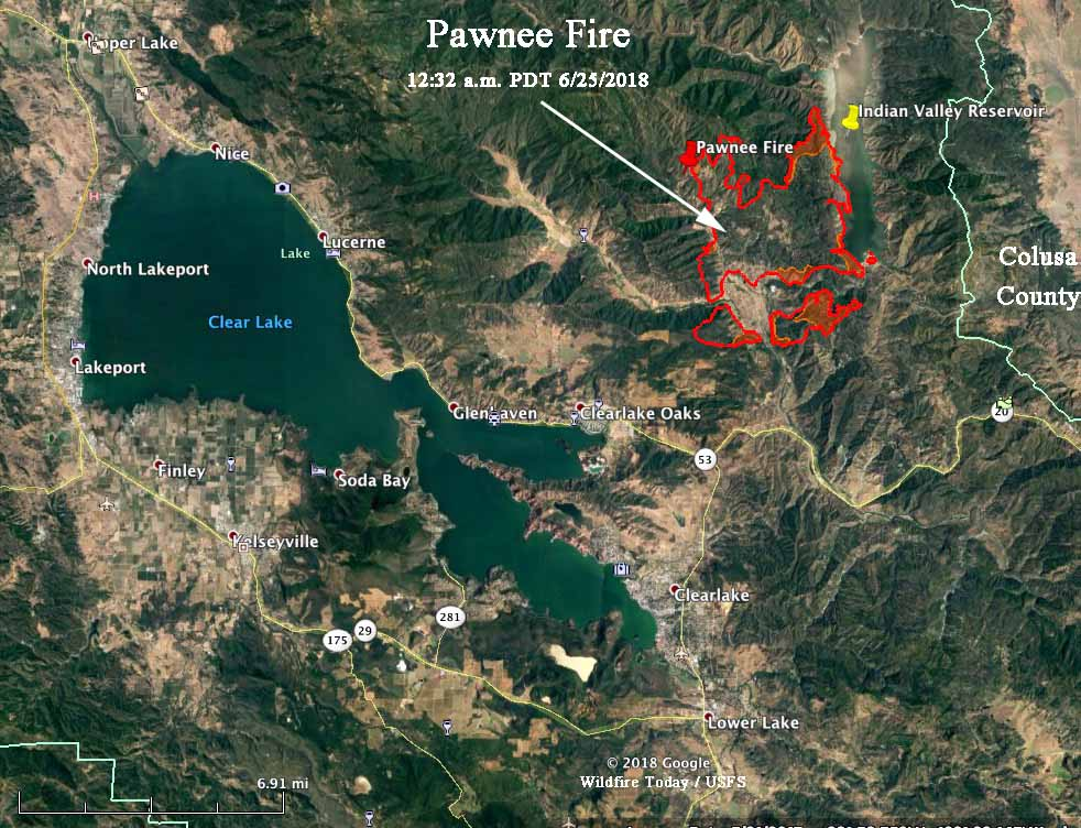 pawnee fire map california clear lake