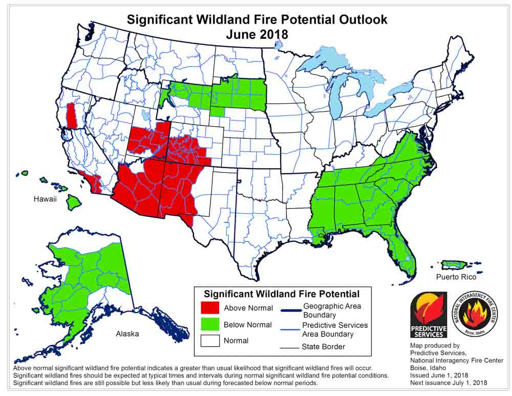 wildfire potential outlook map June