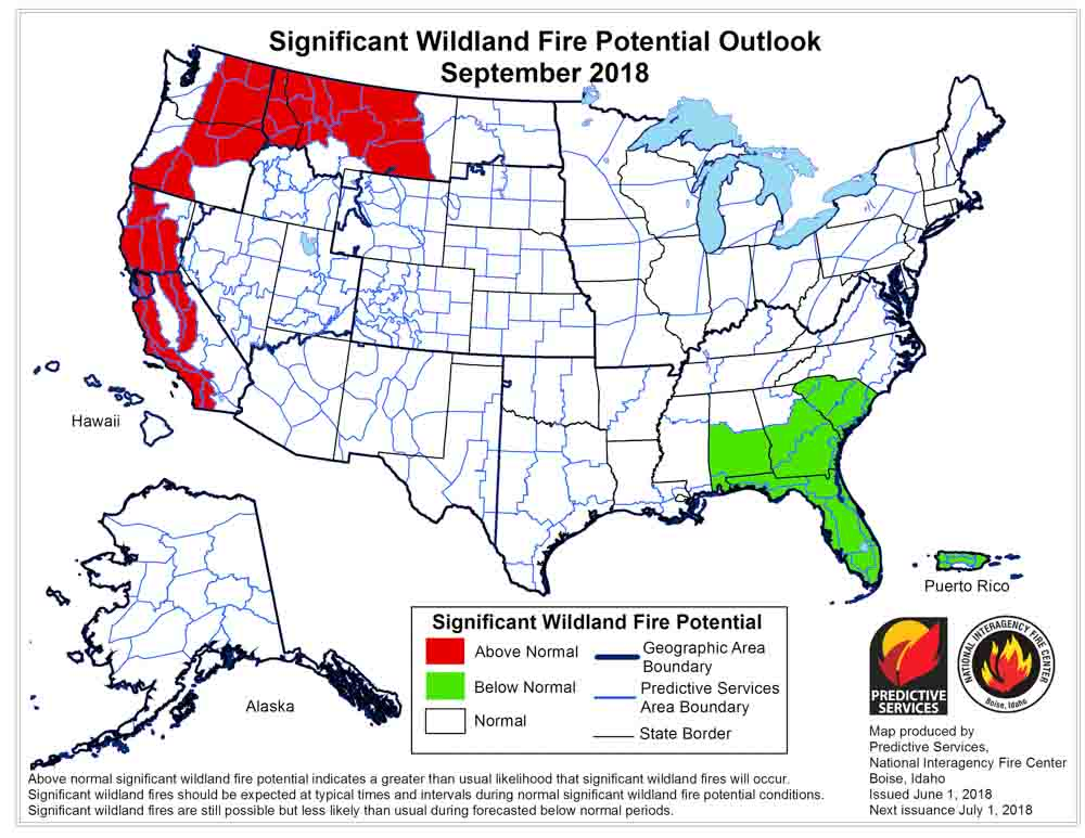 wildfire potential outlook map September