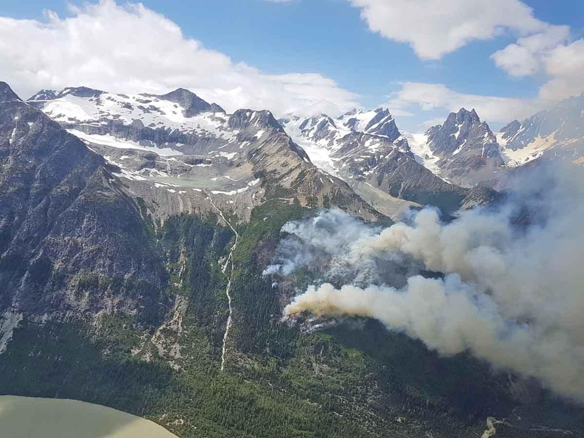 A fire in steep terrain