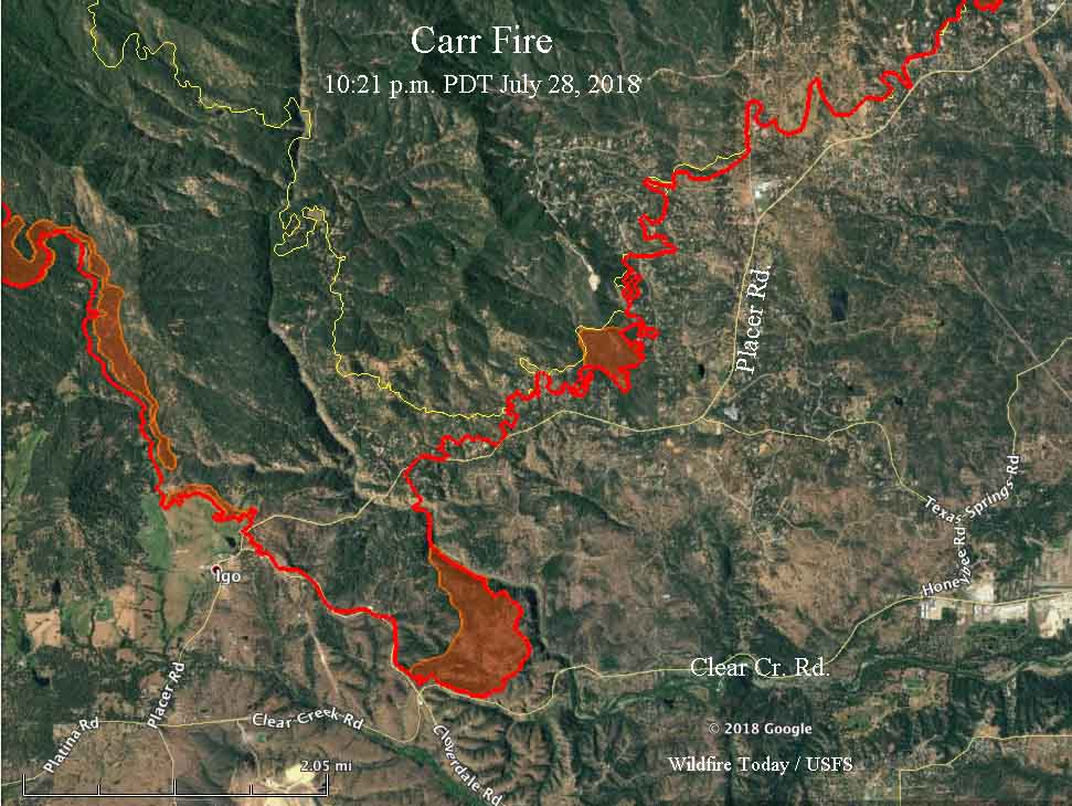 Igo Australia Map 2013.Carr Fire Still Spreading But Away From Redding Wildfire Today